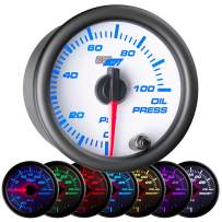"""GlowShift White 7 Color 100 PSI Oil Pressure Gauge Kit - Includes Electronic Sensor - White Dial - Clear Lens - for Car & Truck - 2-1/16"""" 52mm"""