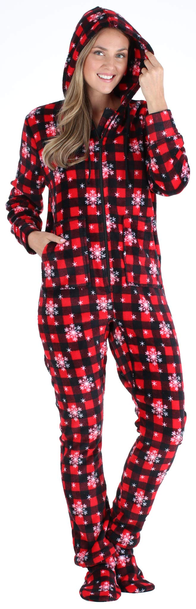 SleepytimePJs Women's Fleece Hooded Footed Onesie Pajama