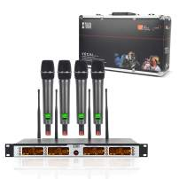 XTUGA SKM4000PLUS 4 x100 Channel UHF Wireless Handheld Microphone System with Selectable Frequencies Prevent Interference, Use for Family Party, Church, Small Karaoke Night (Range:200-320Ft)