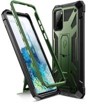 Poetic Spartan Series Designed for Galaxy S20+ Plus Case, Full-Body Rugged Dual-Layer Metallic Color Accent Premium Leather Texture Shockproof Protective Cover with Kickstand, Metallic Green