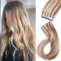 S-noilite 20Pcs 60g Remy Tape in Hair Extensions Human Hair Seamless Skin Weft Invisible Double Sided Glue in hair for women Silky Straight 24 Inch #12/613 Golden Brown&Bleach Blonde Color