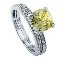 BERRICLE Rhodium Plated Sterling Silver Canary Yellow Cushion Cut Cubic Zirconia CZ Solitaire Engagement Wedding Ring Set 3.24 CTW