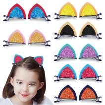 2 inch Felt Cat Ears Hair Clip, Glamfields 7 Pairs Cute Glitter Sparkly Small Hair Barrettes for Toddlers Girls Kids Party Cosplay