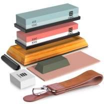 Knife Sharpening Stone Kit, AASELM Professional Whetstone Sharpener Set, 2 in 1 Grit 400/1000 3000/8000, Bamboo Base, Flattening Stone, Polishing Compound, Leather Honing Strop and Leather Razor Strop