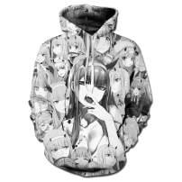 SHOEWPQIA Unisex 3D Anime Darling Cosplay Costume Zero Two Faces Sweatshirt Hoodie