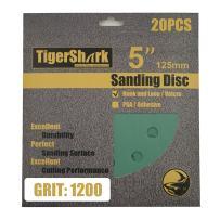 TigerShark 5 Inch Sanding Discs 8 Hole Wet Dry Grit 1200 20pcs Pack Special Anti Clog Coating Film Green Line Hook and Loop Dustless Random Orbital Sander Paper Super Fine