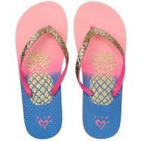 Ataiwee Girls Flip Flops - Women Slides Sandals Summer Spring Green Glitter Upper Slip On Beach Shoes for Big Kid Youth.