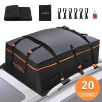 Manfiter Rooftop Cargo Carrier Roof Top Carrier Car Cargo Bag Waterproof Luggage 20 Cubic Feet with Anti-Slip Mat + 10 Reinforced Straps + 6 Door Hooks Works with/Without Rack