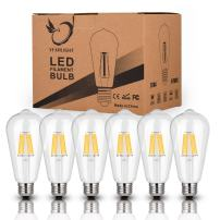 Antique LED Bulbs Soft Warm White 2700K, 6W ST64 Dimmable Vintage Edison LED Bulbs,60W Equivalent, Squirrel Cage Filament Bulb, 550 Lumens, E26 Clear Glass, Pack of 6(2 Year Warranty)