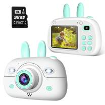 A-TION Kids Camera, Digital Photo and Video Record, Dual 8MP Camera, 2,4 inch Screen, 32GB SD Card, Tiny Toys Gift Camera for Children Aged 2-12, Green