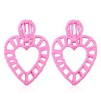 Statement Earrings for Women Rattan Drop Hoop Raffia Handmade Earring with Gift Box