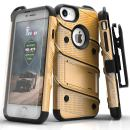 Zizo Bolt Series Compatible with iPhone 8 Case Military Grade Drop Tested with Tempered Glass Screen Protector Holster iPhone 7 case Gold Black