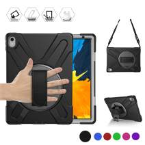 BRAECN iPad Pro 11 Case, Heavy Duty Shockproof Rugged Case with 360 Degree Hand Strap/Kickstand and Shoulder Strap for iPad Pro 11 Inch 2018 Tablet [2nd Gen iPad Pencil Charging Not Supported] (BLACK)