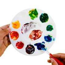"""White Plastic Artist Round Paint Palettes Wheel Color Tray Cavity Non-Stick Trays 10 Slot for Watercolor, Acrylic, Oil Paints (12 Pack, 6.75"""") by Super Z Outlet"""