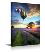 """Canvas Prints Wall Art - Stunning Sunset with Hot Air Balloons Flying High Above The Lavender Fields - 12"""" x 18"""""""