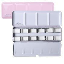 MEEDEN Empty Watercolor Tins Box Palette Paint Case, Medium Pink Tin with 12 Pcs Full Pans