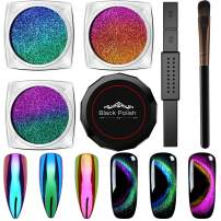 Cat Eye Chrome Nail Powder - 3Pc Get Cat Eye Effect and Chameleon Mirror Effect, 9D Galaxy Gem Glitter Metallic Manicure Pigment with Bonus Black UV Gel and Magnetic Stick - Unique DIY Set
