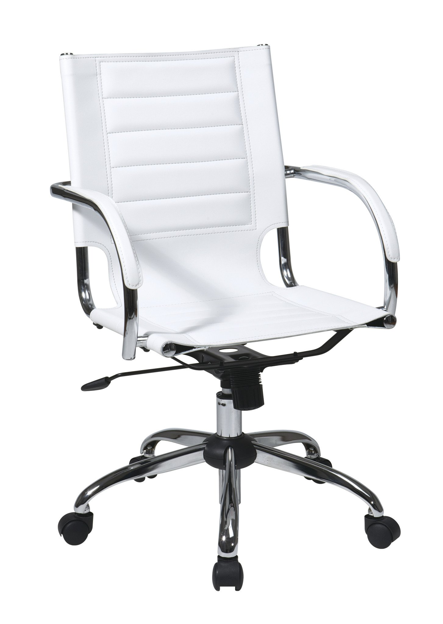 Work Smart/Ave Six AVE SIX Trinidad Office Chair with Fixed Padded Arms and Chrome Finish, White