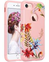 ULAK iPhone 8 & 7 Case, Slim Fit [ Dual Layer Series ] Soft Silicone & Hard Back Cover Bumper Protective Shock-Absorption & Skid-Proof Anti-Scratch Cover (Pink+Tropical Flower)