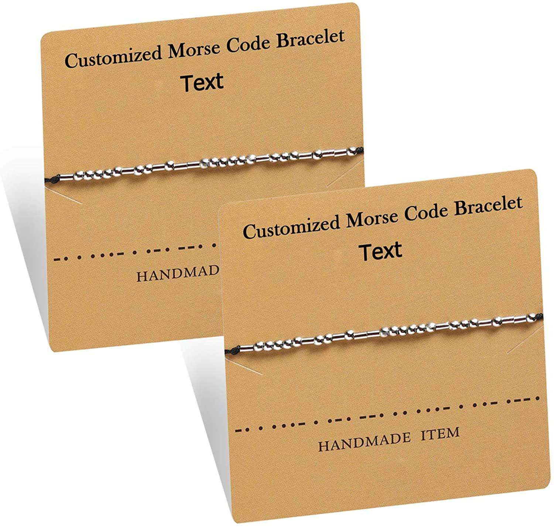 RWQIAN Customize Personalized Morse Code Bracelet Adjustable Handmade Rope Friendship Bracelet Inspirational Jewelry Gift for Best Friend