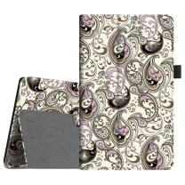 Fintie Folio Case for Amazon Fire HD 8 (Previous Generation - 6th) 2016 Release - Slim Fit Premium Vegan Leather Standing Protective Cover with Auto Wake/Sleep, Paisley Waves