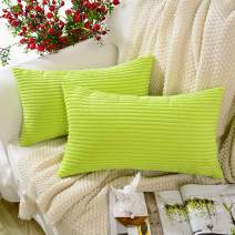 MERNETTE New Year/Christmas Decorations Corduroy Soft Decorative Rectangle Throw Pillow Cover Cushion Covers Pillowcase, Home Decor for Party/Xmas 12x20 Inch/30x50 cm, Green, Set of 2