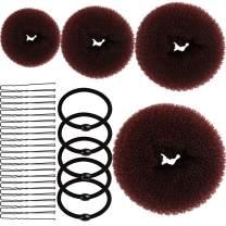 Donut Bun Maker, YGDZ 4pcs Hair Bun Maker (1 extra-large, 1 large, 1 medium and 1 small) Magic Kids Women Donut Bun Maker, Brown