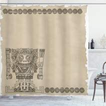 """Ambesonne Tribal Shower Curtain, Mayan and Inca Tribal Superstition Primitive Relic Archeology, Cloth Fabric Bathroom Decor Set with Hooks, 75"""" Long, Green Tan"""