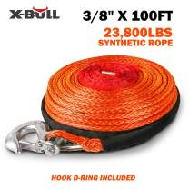 "X-BULL SK75 3/8"" x 100ft Dyneema Synthetic Winch Rope with Hook Car Tow Recovery Cable(23,809 Lbs,Orange)"