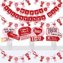 Big Dot of Happiness Conversation Hearts - Banner and Photo Booth Decorations - Valentine's Day Party Supplies Kit - Doterrific Bundle
