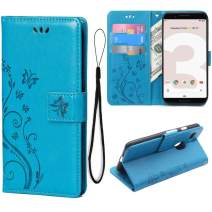 Teebo Wallet Case for Google Pixel 3, Stand Feature with Card Slots Holder Butterfly Flower Premium Leather Magnetic Closure Flip Cover for Google Pixel 3(Blue)