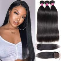 One More Brazilian Straight Hair Bundles with Closure (14 16 18+14) 10A Unprocessed Straight Human Hair Bundles with Closure (Natural Black)