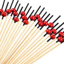 Blulu 200 Pieces Cocktail Picks 4.7 Inch Fruit Sticks Pearl Bamboo Toothpicks for Wedding Birthday Party Supplies (Red Black)