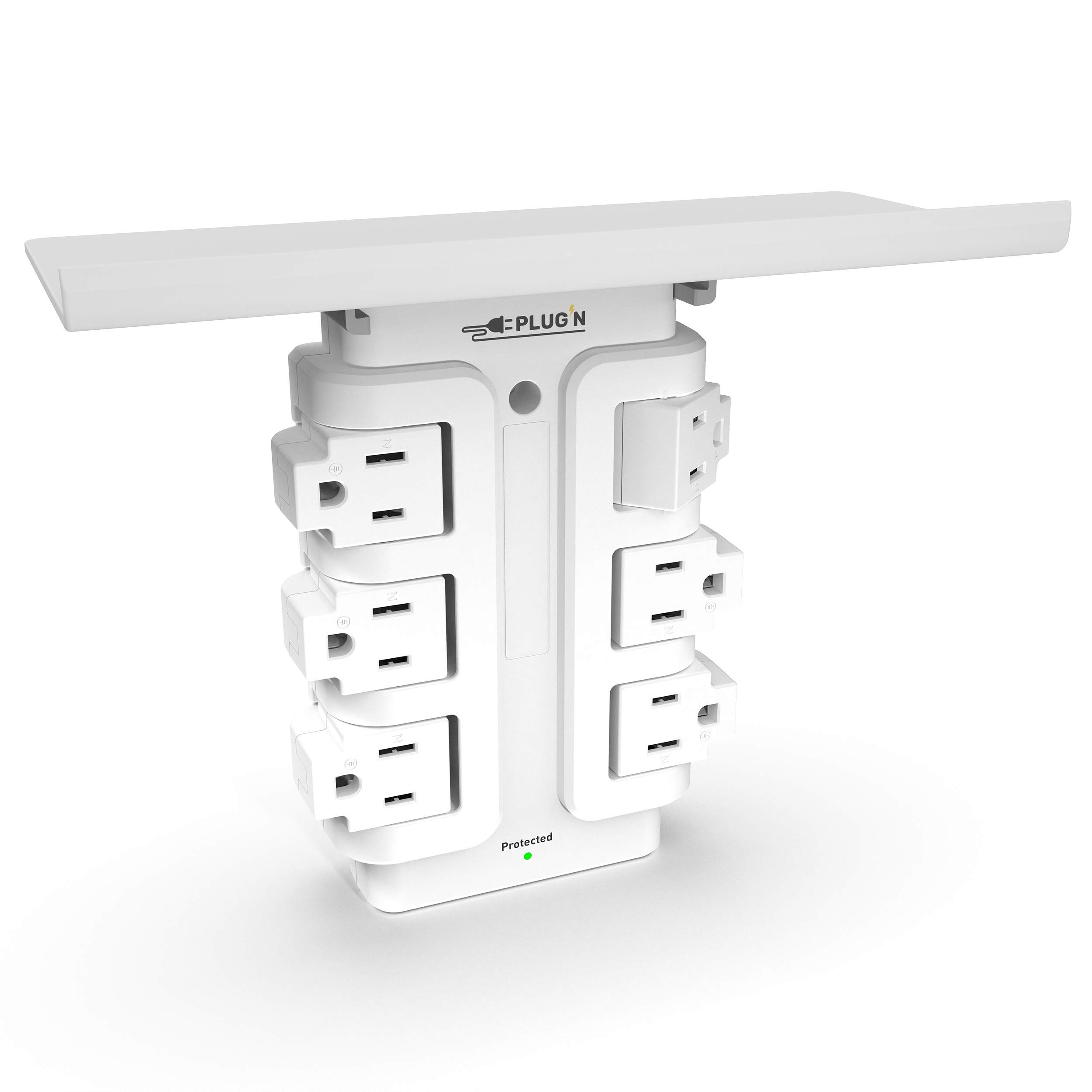Premium 6 Outlet Rotating Wall Outlet Surge Protector (1020J), 15A, ETL Certified
