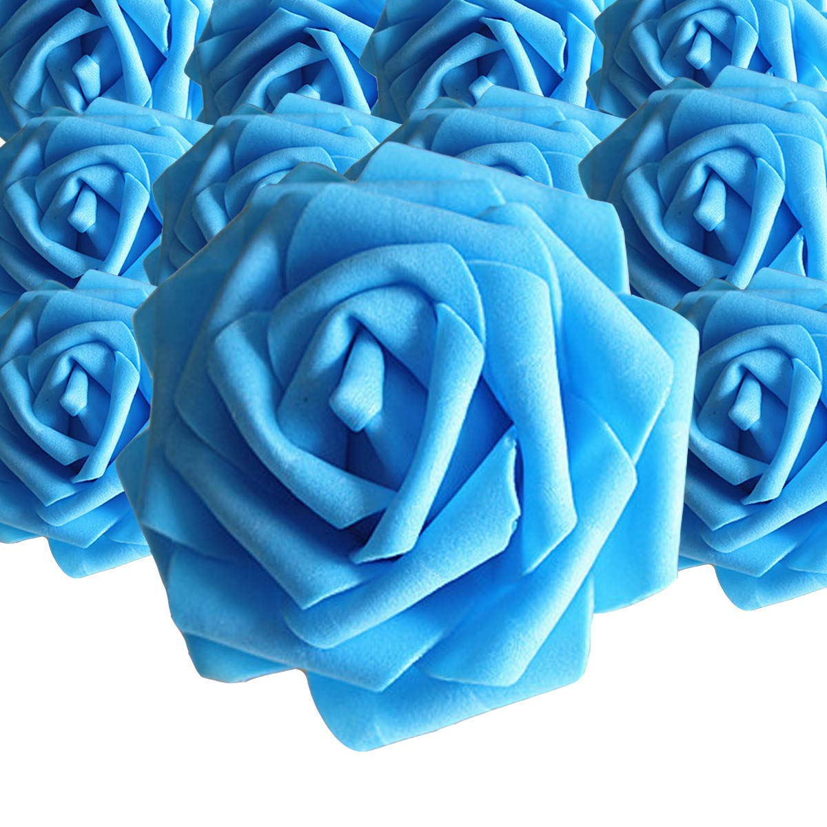 HEBE 50pcs Artificial Roses Flowers Real Looking Fake Roses Artificial Foam Roses Decoration DIY for Wedding Bouquets Centerpieces,Blue
