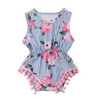 GuliriFei Infant Baby Girl Ruffle Pompom Playsuit Romper Jumpsuit Serape Summer Clothing
