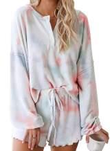 FIYOTE Women's Tie Dye Printed Pajamas Set Long Sleeve Sleepwear Tops with Shorts PJ Set Loungewear Nightwear