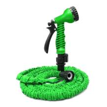 ActionEliters Expandable Garden Hose with 7 Function Hose Nozzles with Double Latex Core Extra Strength Lightweght Fabric Flexible Expanding Hose (50ft, Green)