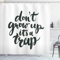 """Ambesonne Saying Shower Curtain, Funny Saying Do Not Grow up It is a Trap Hand Written Style Composition, Cloth Fabric Bathroom Decor Set with Hooks, 75"""" Long, Charcoal Grey"""