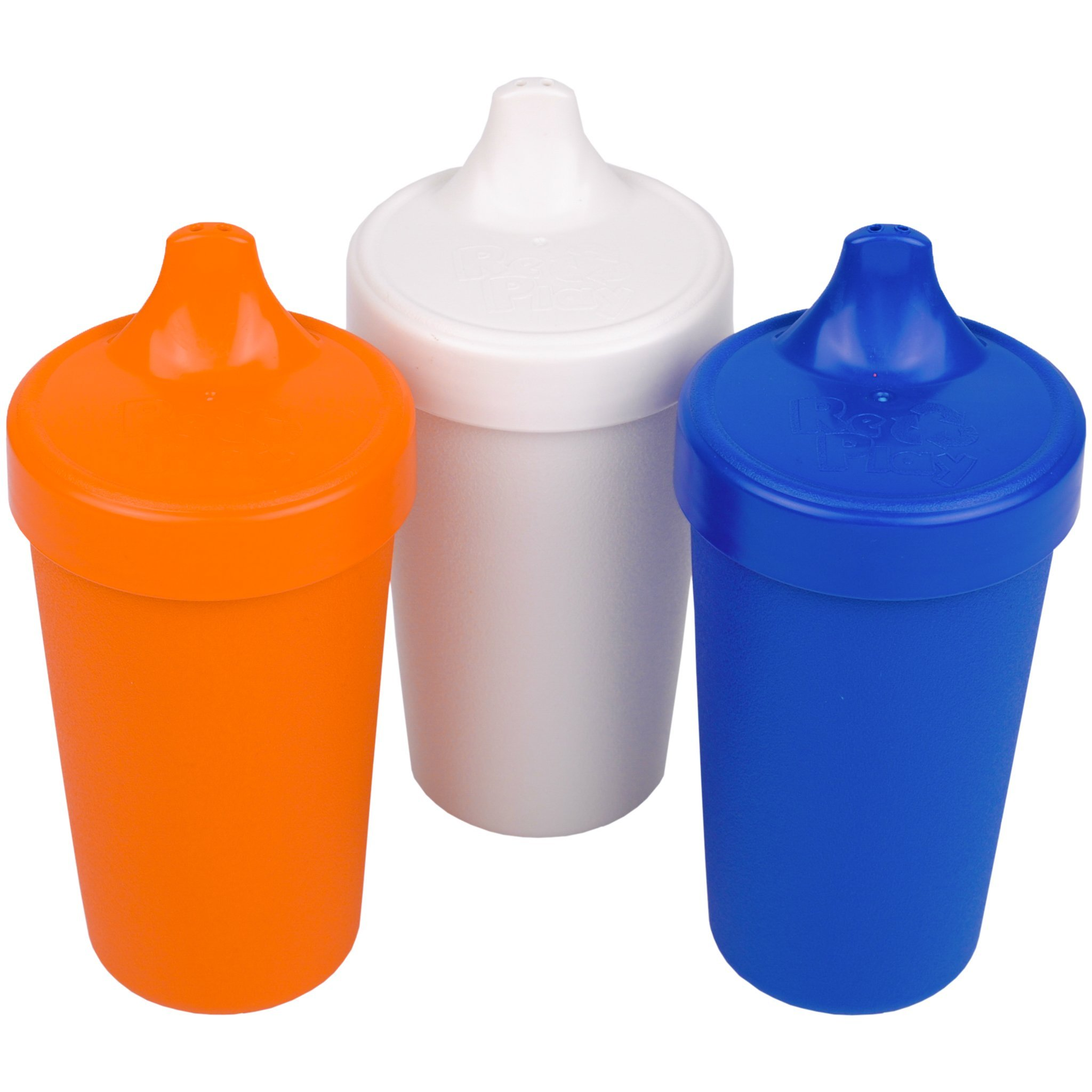 Re-Play Made in USA 3pk No Spill Sippy Cups for Baby, Toddler, and Child Feeding in Orange, White and Navy | Made from Eco Friendly Heavyweight Recycled Milk Jugs - Virtually Indestructible (Sport)