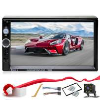 Double Din Car Stereo in-Dash Bluetooth Touch Screen 7 inch with Rear-View Camera Video MP5/4/3 Player, Radio FM, Car Stereo Receiver, Support Steering Wheel Remote Control, Mirror Link, Caller ID
