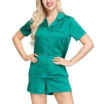 INK+IVY Womens Pajama Set   Silky Short Sleeve Sleepwear Soft Notch Collar Nightwear