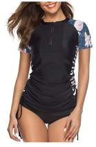 Women's UV Sun Protection Short Sleeve Rash Guard Wetsuit Swimsuit Top
