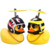 wonuu Rubber Duck Toy Car Ornaments Yellow Duck Car Dashboard Decorations with Propeller Helmet (2Pack-Shark&Bee)