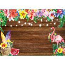 Allenjoy 7x5ft Summer Aloha Flamingo Luau Party Backdrop Tropical Hawaiian Flowers Fruits Photography Background Sea Palm Birthday Musical Party Banner Decoration Cake Table Photo Studio Booth Props