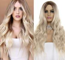 aSulis Natural Long Wavy Curly Wig Dark Roots Ombre Ash Blonde Wig Middle Parting Synthetic Replacement Wig for Women (Ash Blonde)