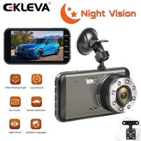 EKLEVA Dual Lens Dash Cam HD Front and Rear, Night Vision Car Camera, 4 Inch IPS Screen, Dashboard Cameras with G-Sensor, Parking Monitoring, Motion Detection, Loop Recording, Super Night Vision!!!