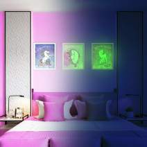 LIDERSTAR Unicorn Wall Decor, Glow in The Dark Wall Art Posters for Girls Bedroom,Glowing Pictures Including Inspired Words, Birthday Gift for for Girls,Little Kids Nursery, Toddlers