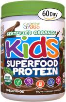 Feel Great 365 USDA Organic Green Superfood Kid's Protein Powder (60 Day), Mocha Chocolate Vegan Smoothie Mix with Vitamins, Prebiotics, Probiotics, Antioxidants & Natural Enzyme Support, Gluten Free