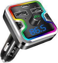 FM Transmitter, Bluetooth 5.0 Car Radio Adapter with PD18w Type C Charging Port and Colorful Light, MP3 Player Car Charger Support Hands-Free Calling, USB Drive, TF Card